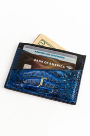 The Ramzy Card Wallet - Custom dyed caiman