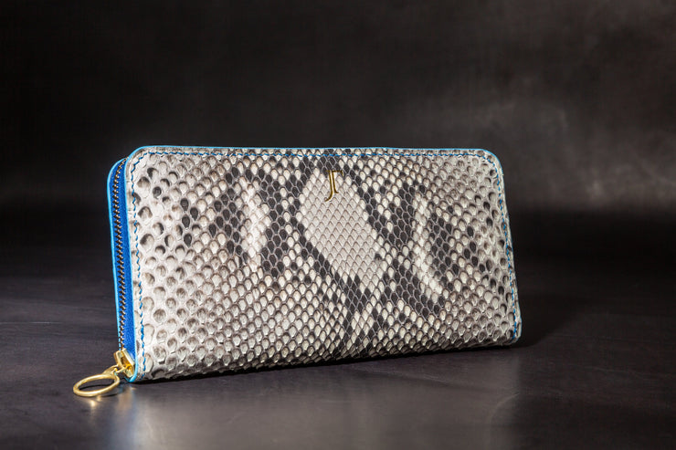 The Charlestown Zip Wallet - Natural Front Cut Python