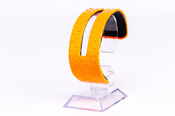 The Exotic Cuff Bracelet - Slotted Bracelet in Glazed Neon Orange Reticulated Python