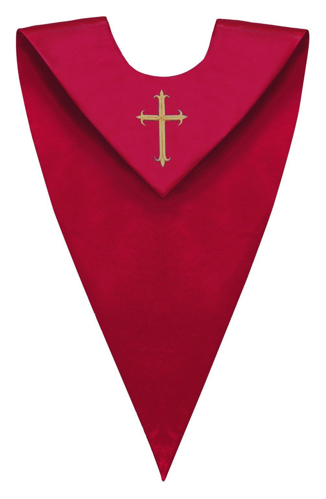 Red V-Neck Choir Stole - Church Choir Robes - ChoirBuy