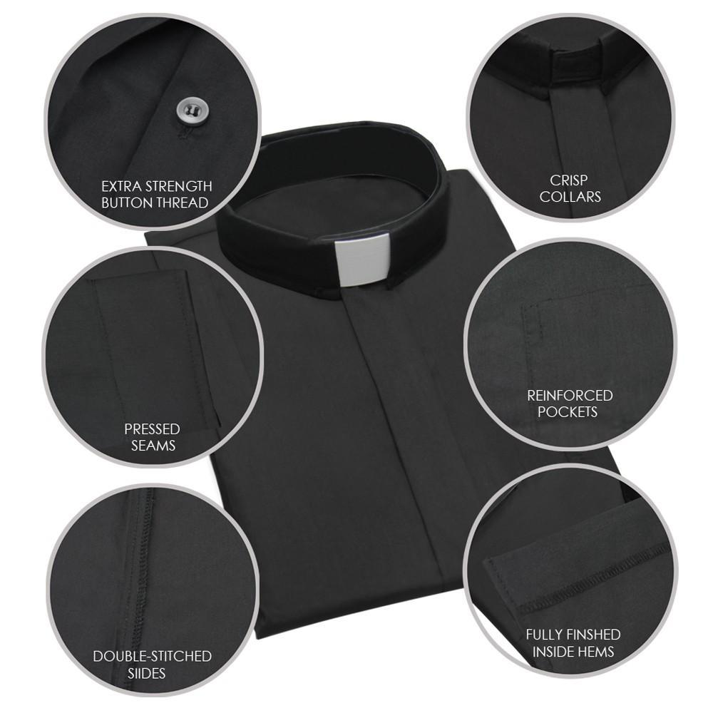 Black Long Sleeve Clergy Shirt