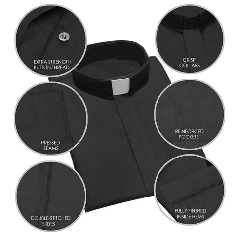 Black Short Sleeve Clergy Shirt
