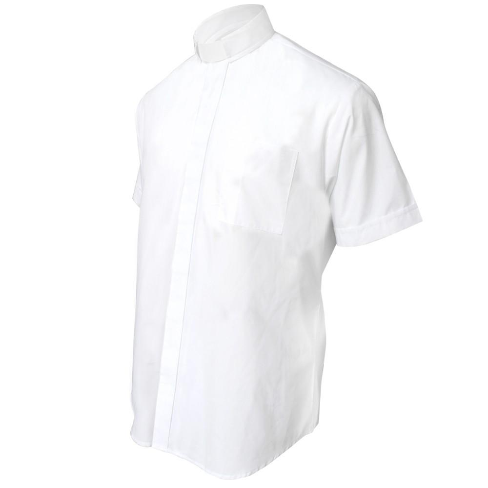 White Short Sleeve Clergy Shirt