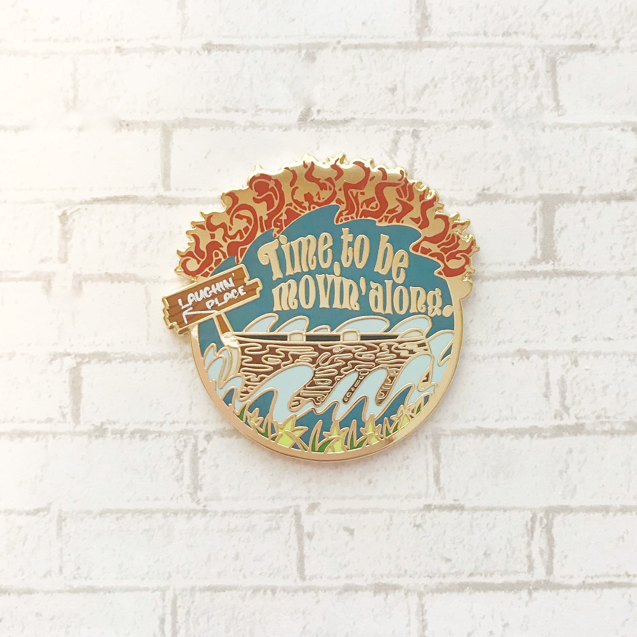 Log Flume Ride Enamel Pin