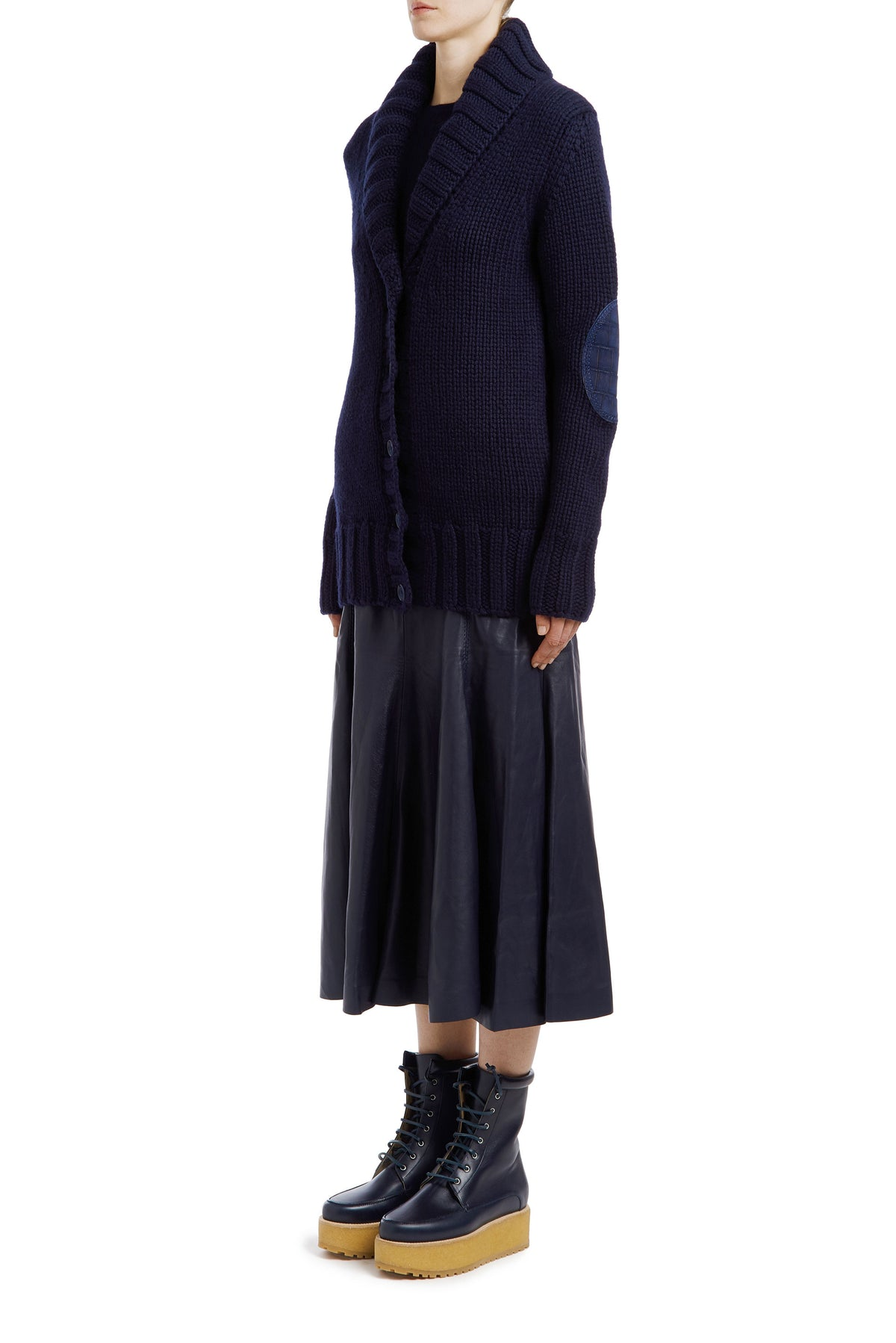 Gustav Cashmere Cardigan with Elbow Patch