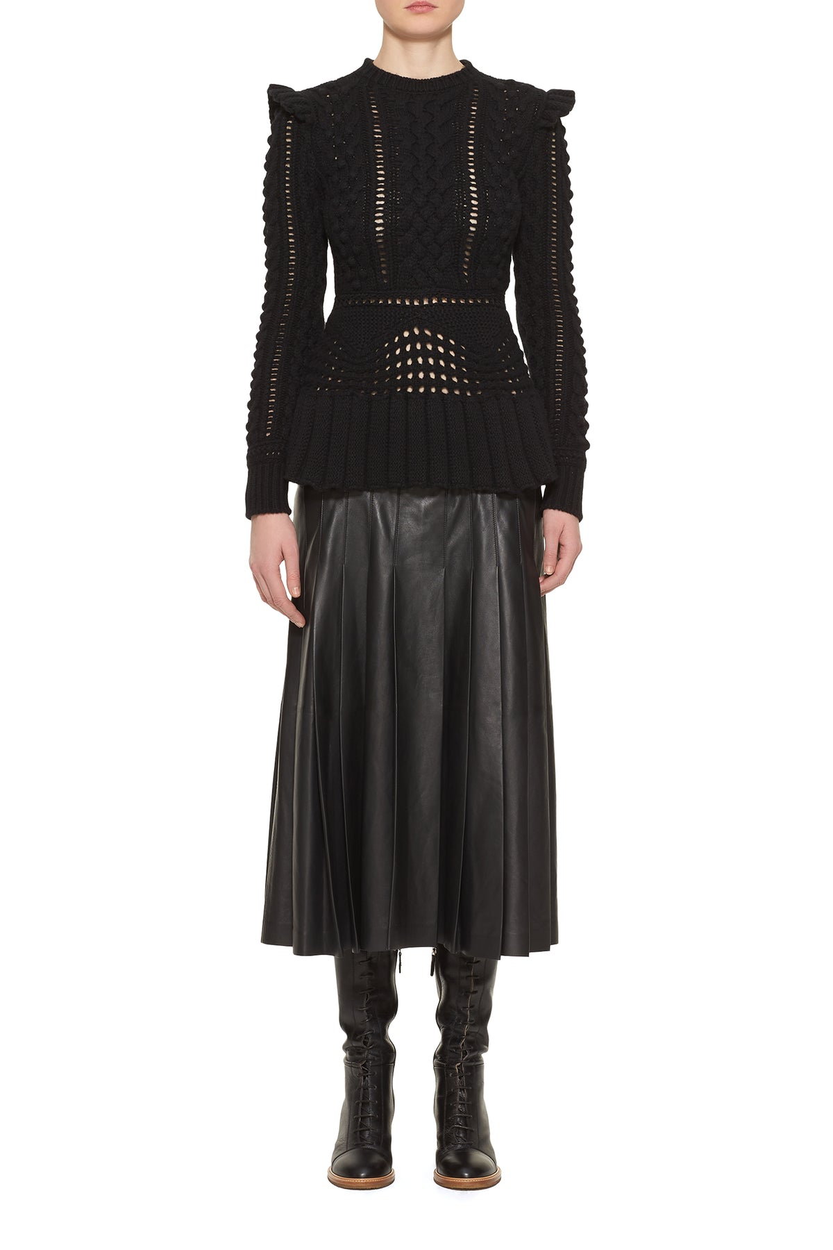 Elisa Knit Leather Dress