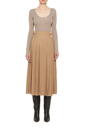 Harris Pleated Skirt With Leather Straps