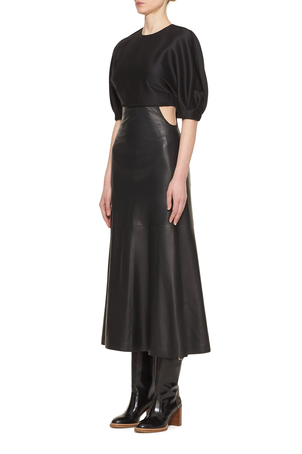 Monod Dress With Leather Skirt