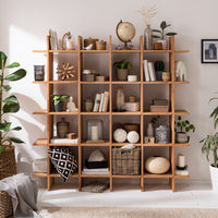 NordicStory Estanteria de pared, Libreria nordica, de madera maciza de roble