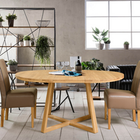 NordicStory Extending round dining table solid wood oak