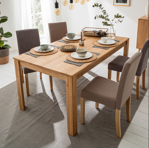 Solid oak wood furniture extendable table
