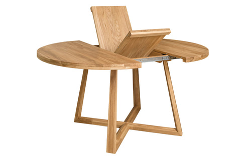 extendable natural wood table
