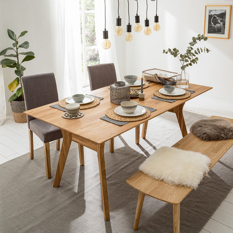 rectangular solid wood table