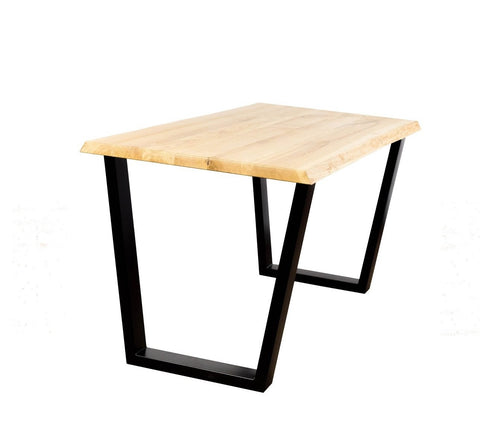 Dining table with trapeze legs