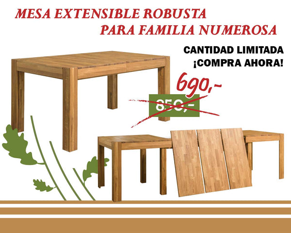 NordicStory XL Solid Oak Wood Extendable Dining Table
