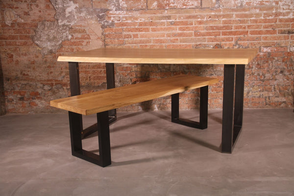 Dining table and bench with trapeze legs