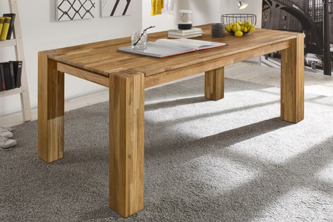 NordicStory Rustic Oak Solid Wood Dining Table