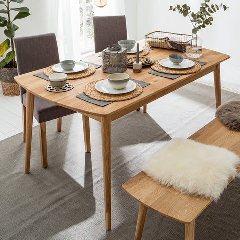 NordicStory Dining Table Solid Oak Wood Dining Bench