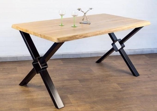 Solid Oak Wood Dining Table with Diamond X Legs