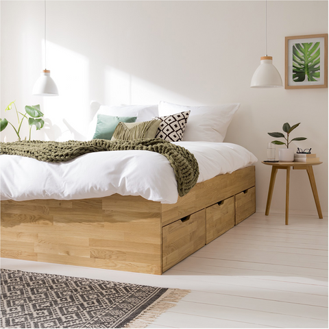 wooden bed with drawers