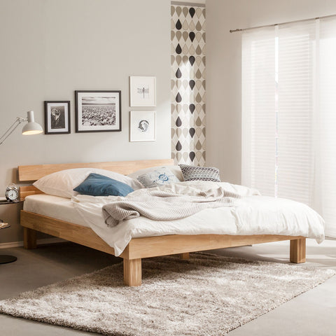 natural solid wood bed