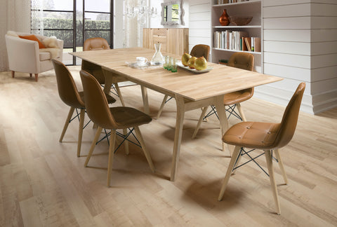 fixed natural wood dining table