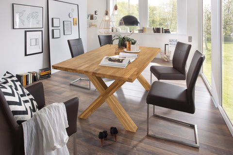 Solid oak natural wood dining table