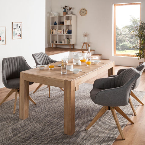 rectangular solid wood dining table