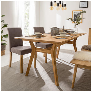 "NordicStory Extendable solid oak dining table ""Harold"" 170-210 x 90 x 75 cm."