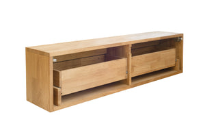 Low Scandinavian style solid oak wood sideboard