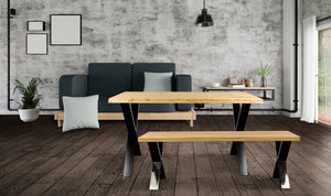 Solid oak wood bench and industrial style steel legs