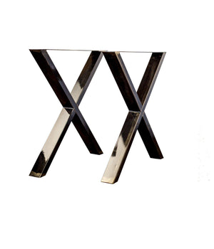 LoftStory X-shaped steel legs industrial table bench coffee table
