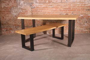 LoftStory Industrial Oak Solid Wood Bench with U Shaped Legs