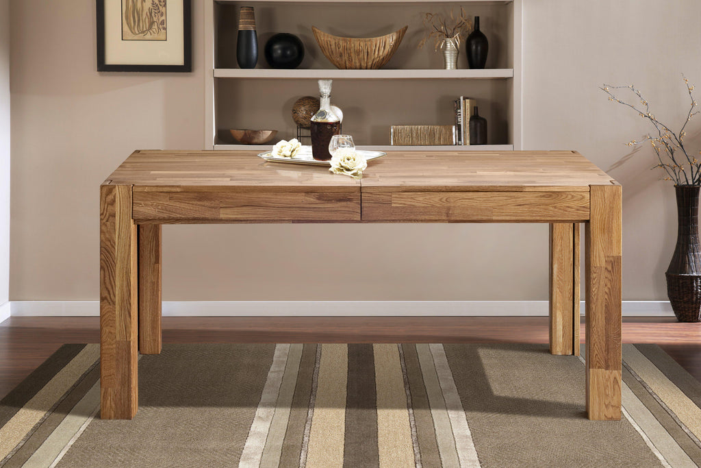 Extending dining table solid wood Nordic oak