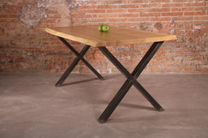 LoftStory Industrial Dining Table with X Shape Steel Legs