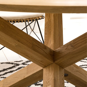 NordicStory Round Solid Oak Wood Dining Table