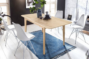 """NordicStory Extendable solid oak dining table """"France"""" 120-160 x 80 x 75 cm."""