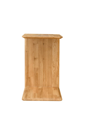 Scandinavian solid oak wood C-shaped bedside table
