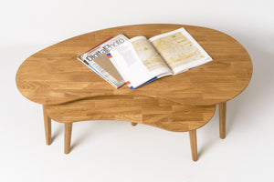 Scandinavian solid oak wood living room coffee table