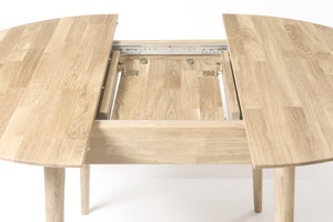 NordicStory extendable dining table Scandi 100-130cm solid wood 100 natural oak bleached