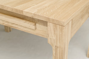 Table à manger extensible NordicStory 80-120cm chêne massif 100 naturel blanchi