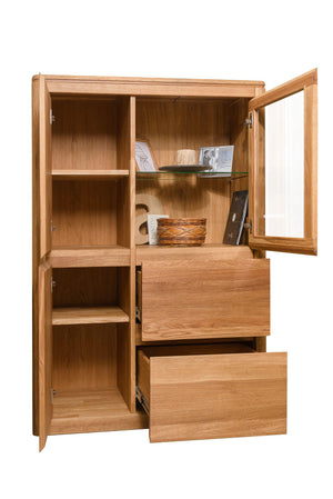 NordicStory Cabinet with Glass Showcase Solid Wood Nordic Oak