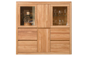 NordicStory Cabinet with Glass Showcase Solid Wood Oak Salon Nordico