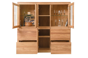 NordicStory Cabinet with Glass Furniture Solid Wood Nordic Oak