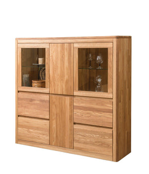 "NordicStory Showcase Cabinet with solid oak glass ""Elsa 3 LUX"" 150,2 x 44 x 145 cm."