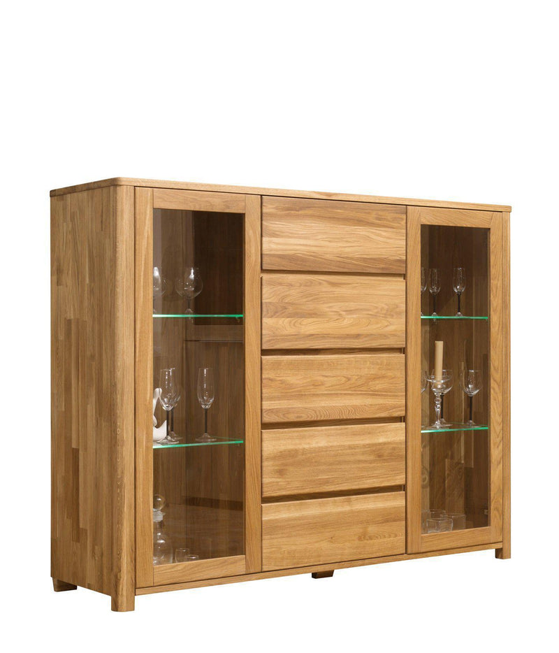 NordicStory Solid Oak Wood Display Cabinet