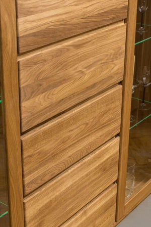 NordicStory Wardrobe with solid wood glass oak Scandinavian Nordic display case