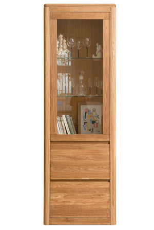NordicStory Cabinet with glass Scandinavian showcase solid wood oak