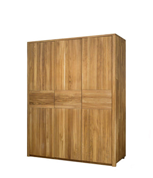 NordicStory Solid Oak 3-Door Clothes Cabinet