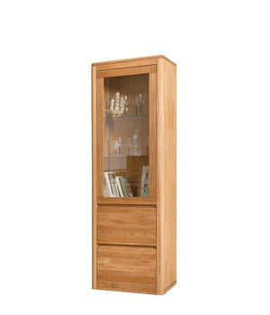 NordicStory Solid Oak Wood Glass Cabinet